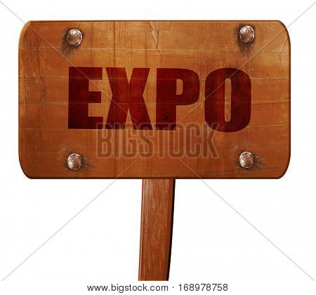 expo, 3D rendering, text on wooden sign