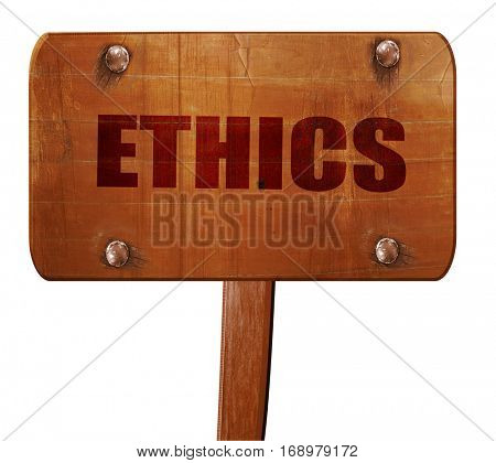 ethics, 3D rendering, text on wooden sign