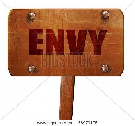 envy, 3D rendering, text on wooden sign
