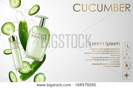 Cucumber whitening hydrating cream contained in green spray bottle on white background