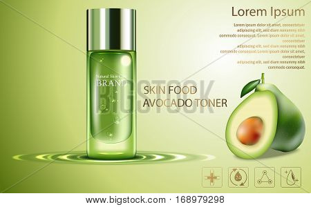 Beauty cosmetic product poster, fruit avocado cream ads with silver bottle package skin care cream on sparkling green shiny background