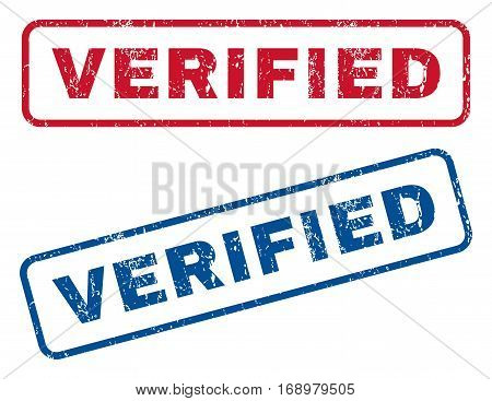 Verified text rubber seal stamp watermarks. Vector style is blue and red ink caption inside rounded rectangular banner. Grunge design and scratched texture. Blue and red signs.