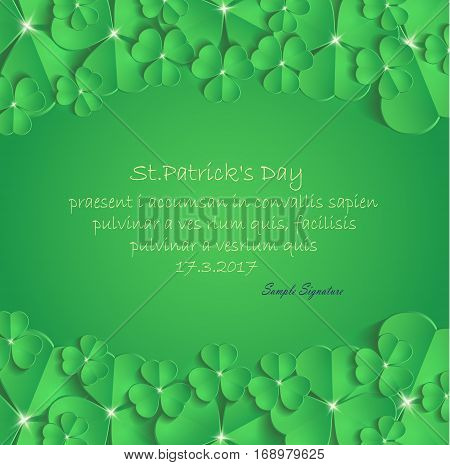 St.Patrick's Day congratulation greeting card vector template