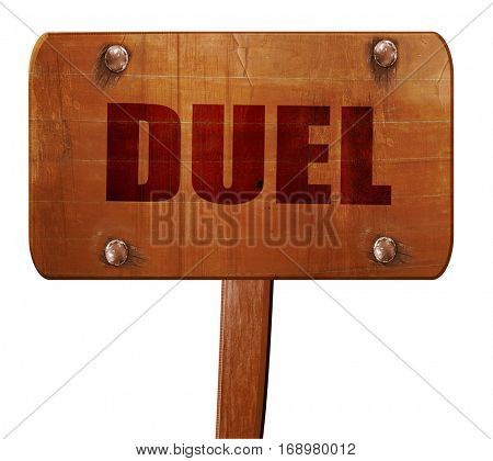 duel, 3D rendering, text on wooden sign