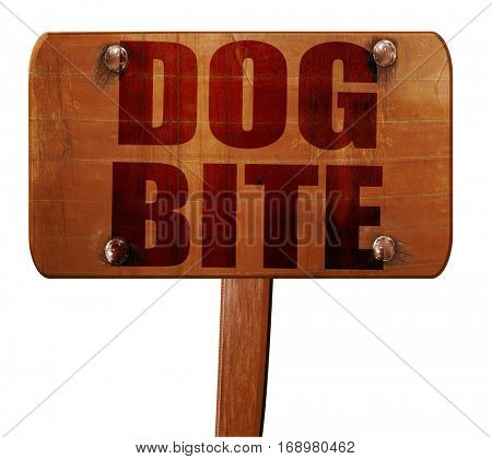 dog bite, 3D rendering, text on wooden sign