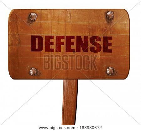 defense, 3D rendering, text on wooden sign