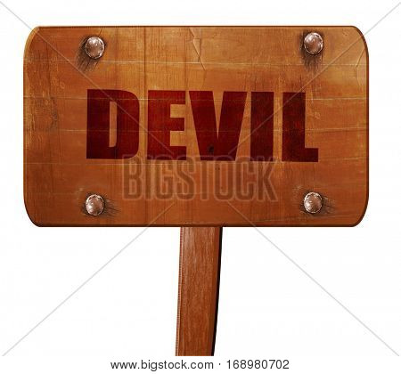 devil, 3D rendering, text on wooden sign