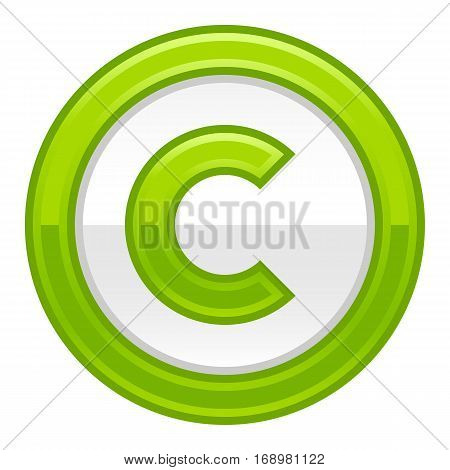 Use it in all your designs. The copyright symbol, or copyright sign, a circled capital letter C. Green rounded glossy button web internet icon. Vector illustration a graphic element for design.