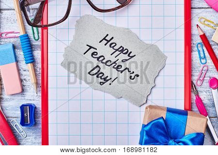 Gift box, stationery and card. Remember about Teacher's Day.