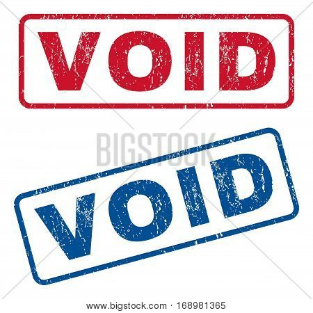 Void text rubber seal stamp watermarks. Vector style is blue and red ink tag inside rounded rectangular banner. Grunge design and dust texture. Blue and red emblems.