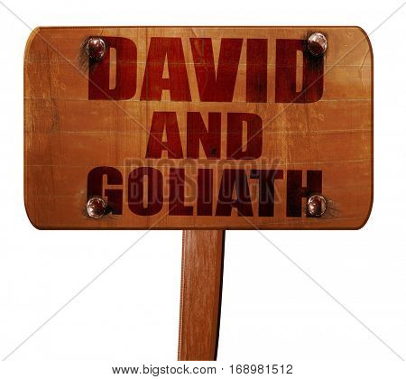 david and goliath, 3D rendering, text on wooden sign