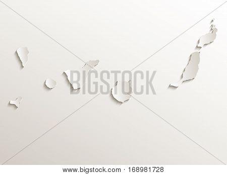 Canary Islands map card paper 3D natural raster - El Hierro,Fuerteventura,Gran Canaria,La Gomera,La Palma,Lanzarote,Tenerife,raster