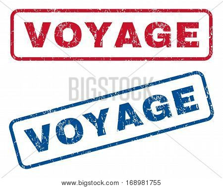 Voyage text rubber seal stamp watermarks. Vector style is blue and red ink tag inside rounded rectangular shape. Grunge design and dust texture. Blue and red stickers.
