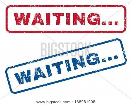 Waiting... text rubber seal stamp watermarks. Vector style is blue and red ink caption inside rounded rectangular banner. Grunge design and unclean texture. Blue and red emblems.