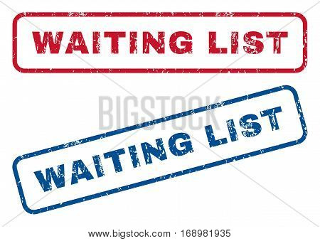 Waiting List text rubber seal stamp watermarks. Vector style is blue and red ink tag inside rounded rectangular banner. Grunge design and dirty texture. Blue and red stickers.