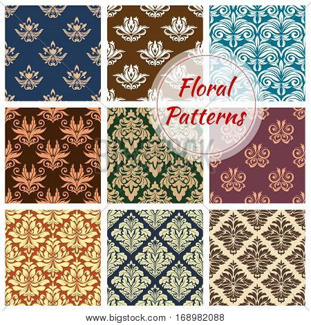 Flowery ornate patterns set. Seamless floral ornaments and baroque flower ornate tiles. Embellishment motif and damask ornamental tracery of luxury royal flowers adornment. Vector backdrop for interior design