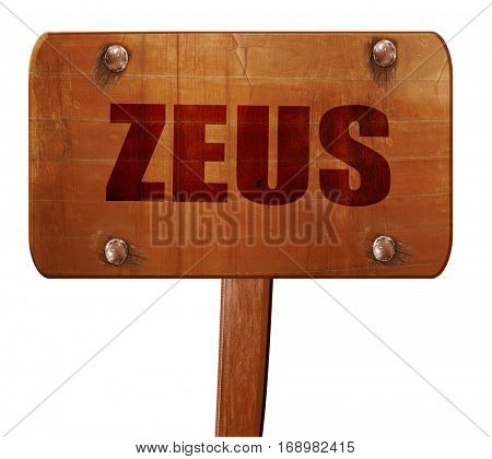 zeus, 3D rendering, text on wooden sign