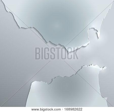 Strait of Gibraltar map glass card paper 3D raster