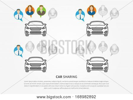 Car sharing vector illustration. Car to share graphic design. Transport renting service creative concept. Colorful and grey avatars of people with shared car and sample text.