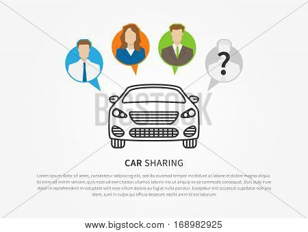 Car sharing vector illustration. Car to share graphic design. Transport renting service creative concept. Colorful and grey silhouettes of people with shared car and sample text.