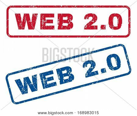 Web 2.0 text rubber seal stamp watermarks. Vector style is blue and red ink caption inside rounded rectangular banner. Grunge design and scratched texture. Blue and red signs.