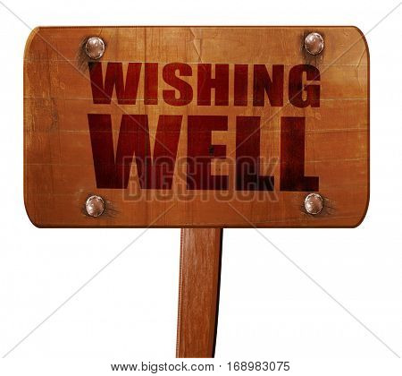 wishing well, 3D rendering, text on wooden sign