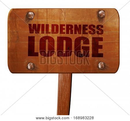 wilderness lodge, 3D rendering, text on wooden sign