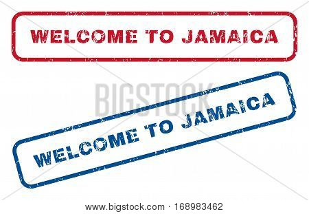 Welcome To Jamaica text rubber seal stamp watermarks. Vector style is blue and red ink tag inside rounded rectangular banner. Grunge design and dirty texture. Blue and red emblems.