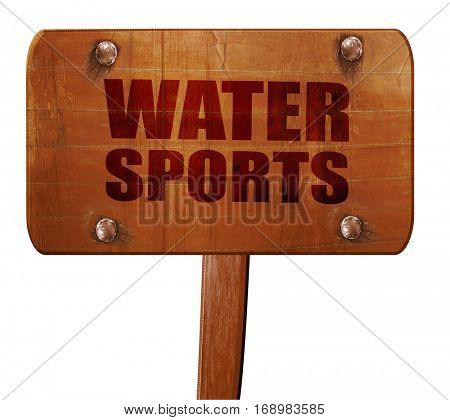 water sports, 3D rendering, text on wooden sign