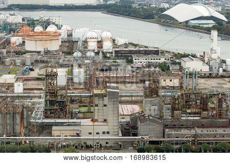 Manufacting factory in Yokkaichi city of Japan