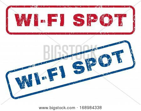 Wi-Fi Spot text rubber seal stamp watermarks. Vector style is blue and red ink tag inside rounded rectangular banner. Grunge design and dust texture. Blue and red signs.