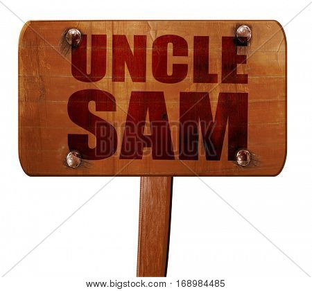 uncle sam, 3D rendering, text on wooden sign