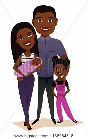 Happy black family couple with children isolated vector illustration. Husband, wife, daughter and baby. Smiling young people portrait, happy family with kids standing together. Black family characters. Cartoon family of black people. Cartoon african chara