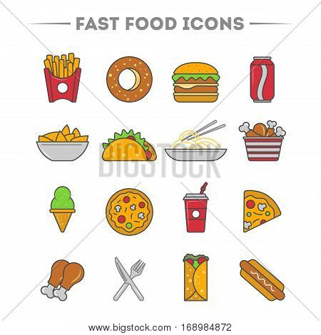 Fast food icon set isolated vector illustration. Taco, cola, ice cream, hot dog, french fries, chicken, sandwich and other fast food icon. Cafe or restaurant fast food menu symbol. Fast food icon collection. Vector fast food icon with pizza and burger.