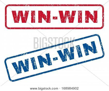 Win-Win text rubber seal stamp watermarks. Vector style is blue and red ink caption inside rounded rectangular shape. Grunge design and scratched texture. Blue and red emblems.