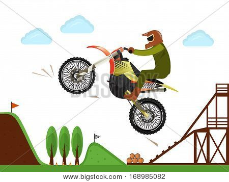 Extreme motocross rider jumping vector illustration. Bike professional rider jumping in air, freestyle motocross, man riding motorcycle, outdoor moto speed racing, off road enduro sport competition. Cartoon motocross illustration. Vector motocross concept