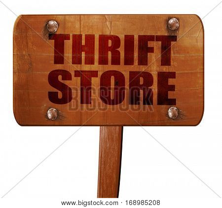 thrift store, 3D rendering, text on wooden sign