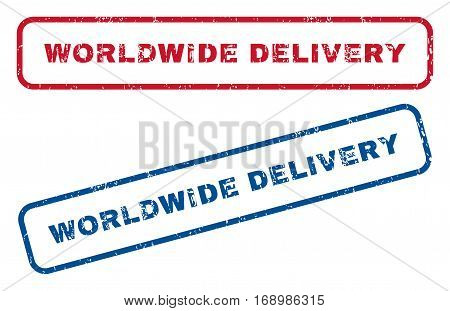 Worldwide Delivery text rubber seal stamp watermarks. Vector style is blue and red ink caption inside rounded rectangular banner. Grunge design and scratched texture. Blue and red signs.
