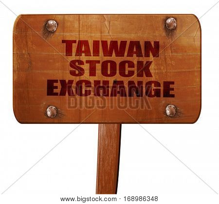 taiwan stock exchange, 3D rendering, text on wooden sign