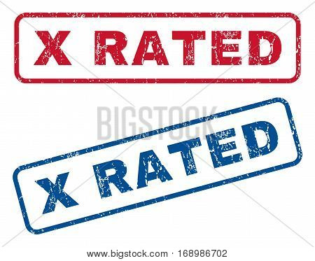 X Rated text rubber seal stamp watermarks. Vector style is blue and red ink tag inside rounded rectangular banner. Grunge design and scratched texture. Blue and red stickers.