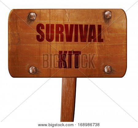 Survival kit sign, 3D rendering, text on wooden sign
