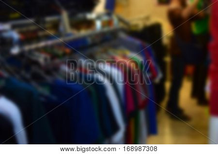 Blur clothing sold in stores background, sold clothing.