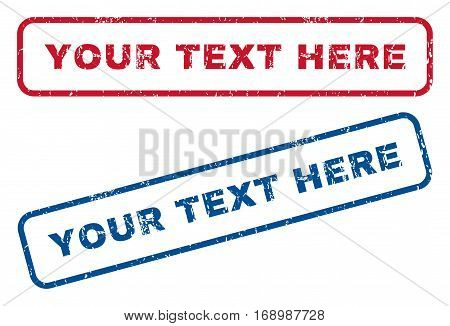 Your Text Here text rubber seal stamp watermarks. Vector style is blue and red ink caption inside rounded rectangular banner. Grunge design and scratched texture. Blue and red emblems.