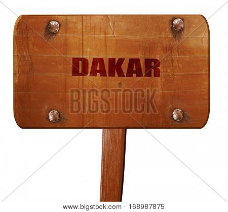 dakar, 3D rendering, text on wooden sign