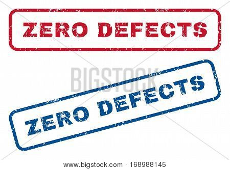 Zero Defects text rubber seal stamp watermarks. Vector style is blue and red ink caption inside rounded rectangular shape. Grunge design and unclean texture. Blue and red signs.