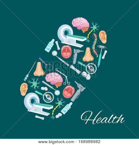 Pill symbol or medical items and medicines drugs, MRI angiogram scanner, human organs brain, spine, nose and ear, nerves, surgery and otolaryngology, instruments syringe needle, scissors, otoscope, spray and pills. Vector healthcare poster design