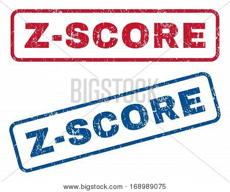 Z-Score text rubber seal stamp watermarks. Vector style is blue and red ink caption inside rounded rectangular shape. Grunge design and dirty texture. Blue and red stickers.