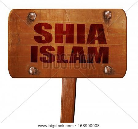 shia islam, 3D rendering, text on wooden sign