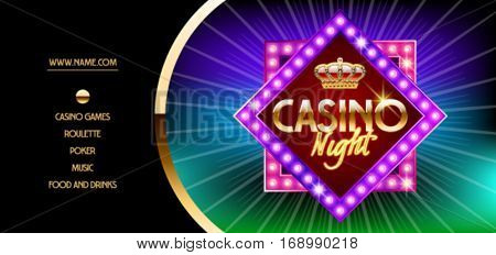 Vector golden vip flyer with neon glowing star for casino night event