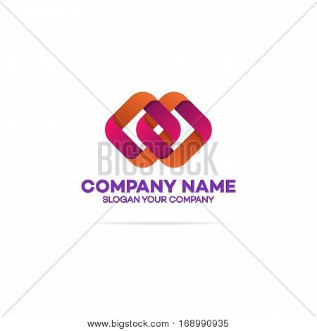 Chain logo template with two squares on white background can used for corporate identity, marketing firm, funds service, investment and other. Square logo. Vector Illustration